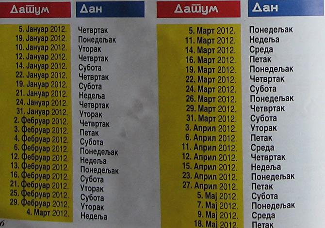 Najpovoljniji datumi za venčenje u 2012 godini